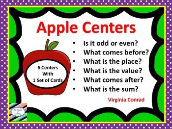 Task Cards for Math Centers:  Apple Theme