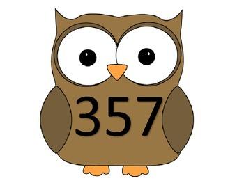 Owl Math Center Task Cards