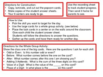 Popcorn Math Center Task Cards