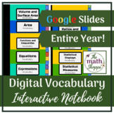 6th Grade Math WHOLE YEAR Digital Vocabulary Interactive N
