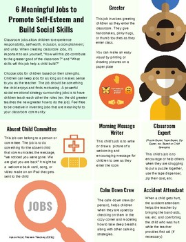 6 Meaningful Classroom Jobs to Promote Social-Emotional Development