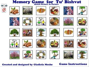 6 Memory Game for Tu' Bishvat photo to photo English