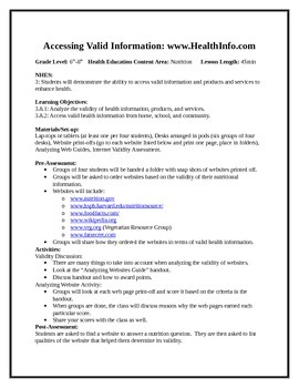 6 Middle School Health Lessons-Bundled: Accessing Info & Interpersonal Comm