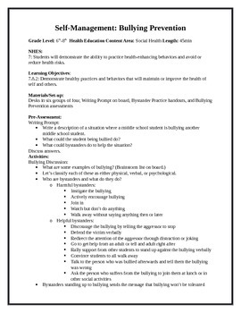 6 Middle School Health Lessons-Bundled: Self-Management & Advocacy