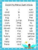 6 Moses themed Dolch Sight Word Lists. Preschool-3rd Grade Reading