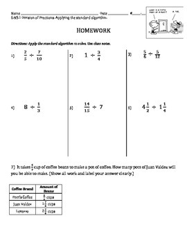6.NS.1 - Dividing Fractions - Practice the Algorithm (easily apply to modeling)