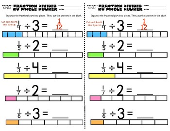 6.NS.1 Fraction Divided By Whole Number Exit Ticket