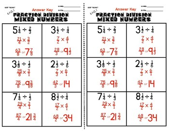 6.NS.1 Fraction Division of Mixed Numbers Exit Ticket