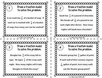 6.NS.1 Dividing Fractions Word Problem Task Cards