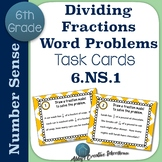 6.NS.1 Task Cards Dividing Fractions Word Problems