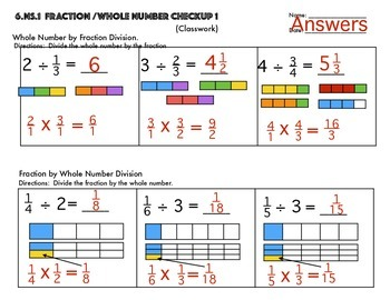 6.NS.1 Fractions divided By Whole Numbers