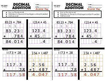 6.NS.3 Decimal Addition Exit Ticket