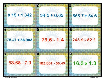 6.NS.3 Decimal Operations Task Cards