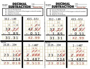 6.NS.3 Decimal Subtraction Exit Ticket