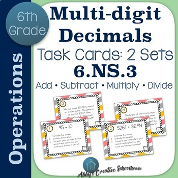 6.NS.3 Task Cards Operations with Decimals