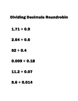 6.NS.3 Roundrobin Dividing Decimals