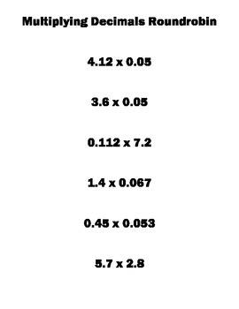 6.NS.3 Roundrobin Multiplying Decimals