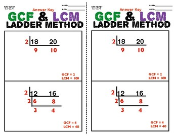 6.NS.4 GCF & LCM Ladder Method Exit Ticket