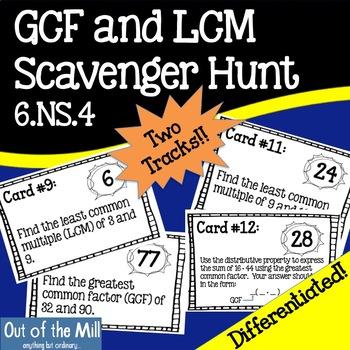 6.NS.4 GCF and LCM Scavenger Hunt