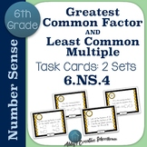 6.NS.4 Task Cards Greatest Common Factor and Least Common