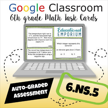 ⭐ AUTOMATICALLY GRADED ⭐ 6.NS.5 Task Cards ⭐ Positive and Negative Numbers
