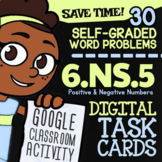 6.NS.5 Task Cards ✦ Positive & Negative Numbers Activity ✦ Google Classroom™
