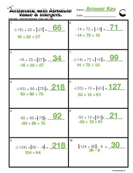 6.NS.7 Arithmetic with Absolute Value of Integers