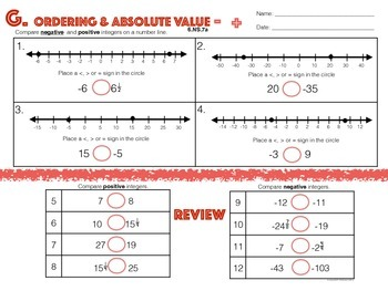 6.NS.7a Ordering & Absolute Value