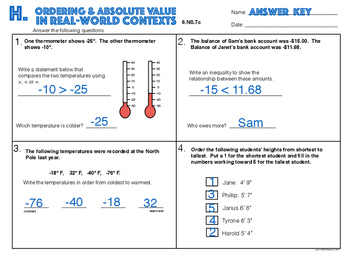 6.NS.7c Ordering & Absolute Value in Real World Contexts