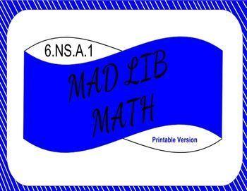 6.NS.A.1 Printable Mad Lib Math Activity (dividing fractions)