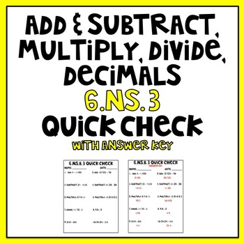 6.NS.B.3 Quick Check With Answer Key