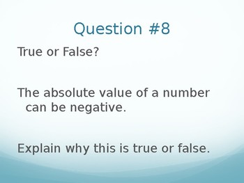 6.NS.C.5 6.NS.C.6ac 6.NS.C.7cd Integers Absolut Value powerpoint review