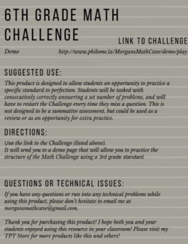 6.NS.6C 6th Grade Math Challenge