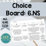6th Grade Choice Board Math Center 6NS Number Systems