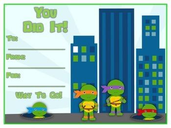 6 Ninja Turtles Award Certificates - Colorful & Fun Rewards