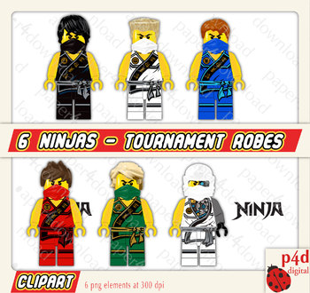 6 Ninja in Tounament Robes - Clipart - Digital Collage, PNG files