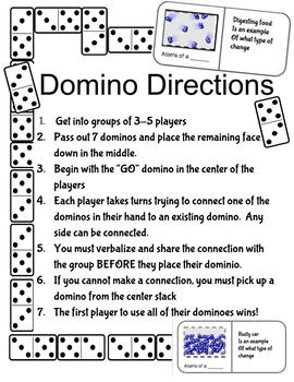 6.P.2 || Matter - Properties and Change - Domino Review Game