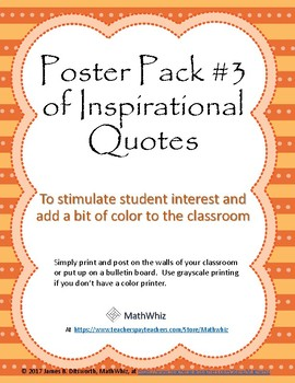 6-Pack #3 of Colorful Posters for the Classroom with Inspirational Quotations