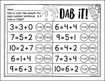 6-Pack! Addition Fluency 2 - Number Sentence (equations) true or false