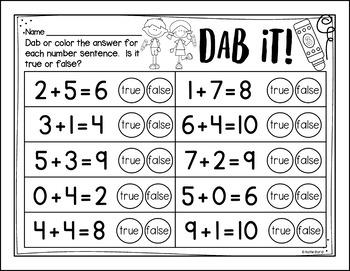 6-Pack!  Addition Fluency - Number Sentence (equations) true or false