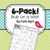 6-Pack! Birds on a Wire - Counting and Numeral Writing