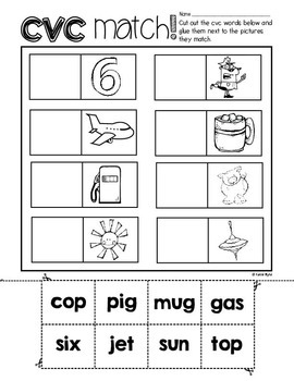 6-Pack! CVC Word-Picture Match #2