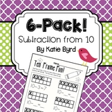 6-Pack! Subtraction from 10 on Ten Frame