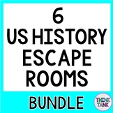 6 Pack Escape Rooms Activity Bundle:Constitution,Bill of Rights,Founding Fathers