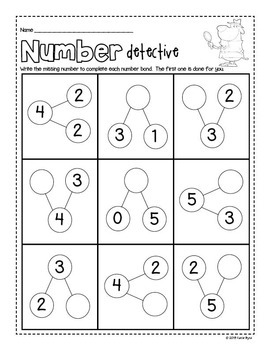 6-Pack! Number Bonds to 5 math facts practice