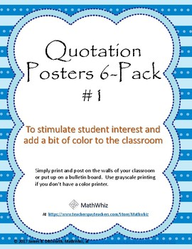 6-Pack #1 of Colorful Posters for the Classroom with Inspirational Quotations