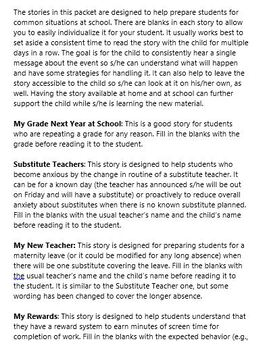 6 Pack of School-Themed Social Stories