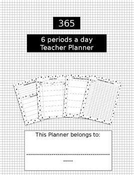6 Periods a day teacher planner