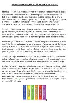 6 Pillars of Character: Weekly Menu Project