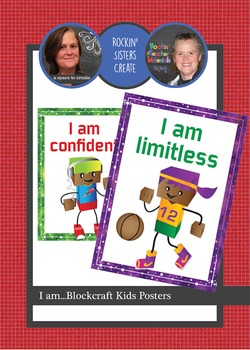 6 Posters - I am statements - Blockcraft Kids